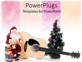 PowerPlugs: PowerPoint template with santa clause sitting on a gift box with a guitar and Christmas tree