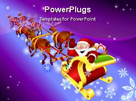 PowerPlugs: PowerPoint template with santa is going in Christmas season over blue and purple background