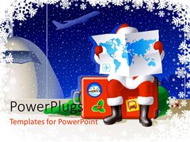 PowerPlugs: PowerPoint template with a santa reading the map of the world with airplane in the background