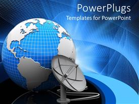 PowerPlugs: PowerPoint template with a satellite dish beside a blue colored earth globe