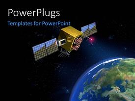 PowerPoint template displaying satellite hovering in space over planet earth with shiny stars