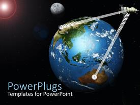 PowerPlugs: PowerPoint template with satellite in orbit reflecting signal between locations