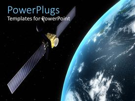 PowerPlugs: PowerPoint template with satellite in orbit rotating round the earth in space