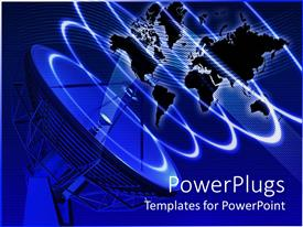 PowerPlugs: PowerPoint template with satellite surrounding world map, representation of telecommunication equipment with plain map of world