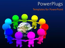 PowerPlugs: PowerPoint template with save earth concept using different color humanoids holding hands around earth
