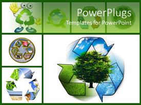 PowerPlugs: PowerPoint template with save nature, go green with a process of recycling