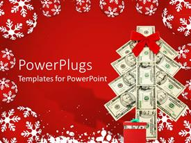 PowerPlugs: PowerPoint template with saving money for the holidays metaphor with Christmas tree made of dollar bills, red and white snowflake ornaments