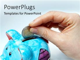 PowerPoint template displaying savings depiction with hand dropping gold coin in blue piggy bank