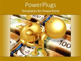 PowerPoint template displaying savings metaphor with gold person carrying piggy bank on stacks of currency