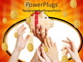 PowerPlugs: PowerPoint template with savings metaphor with hands reaching for piggy bank coins falling from overhead