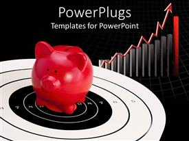 PowerPoint template displaying savings metaphor with red piggy bank on target with bar graph and  upward trend arrow