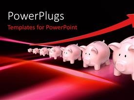 PowerPlugs: PowerPoint template with savings metaphor with red up arrow and row of piggy banks