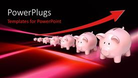 PowerPoint template displaying savings metaphor with red up arrow and row of piggy banks