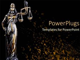 PowerPoint template displaying scale of justice law and order statue legal systems judicial system