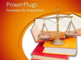 PowerPlugs: PowerPoint template with scales of justice atop legal books over white and orange background