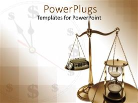 PowerPoint template displaying scales of justice with hourglass opposite stack of case against clock background with dollar signs