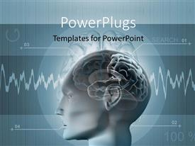 PowerPlugs: PowerPoint template with scan of human brain with pulse lines showing brain activity