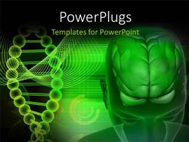 PowerPlugs: PowerPoint template with scan of the human head showing the brain and DNA strands in background