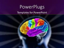 PowerPlugs: PowerPoint template with scan of human head showing brain with many colors