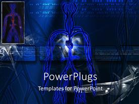 PowerPlugs: PowerPoint template with scan showing human circulatory system over blue digital background