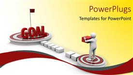 PowerPlugs: PowerPoint template with a white colored 3D character standing on a target