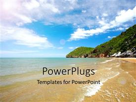 PowerPlugs: PowerPoint template with scenery of beach with ocean waves on beach sand and cloudy sky