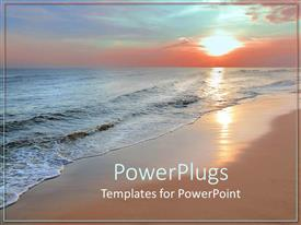 PowerPlugs: PowerPoint template with scenery of beautiful beach with sunset in horizon reflecting on Sea waves