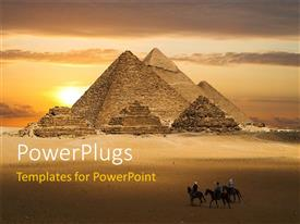 PowerPlugs: PowerPoint template with ancient pyramids with three travelers on horse backs in desert