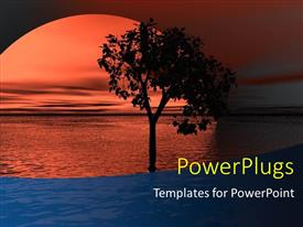 PowerPlugs: PowerPoint template with scenery of sunset over sea surface with flourishing tree