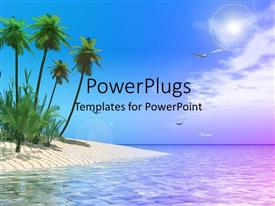 PowerPlugs: PowerPoint template with scenery of tropical beach with palm trees and birds soaring in sky