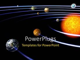 PowerPlugs: PowerPoint template with schematic depiction of the solar system with all the planets