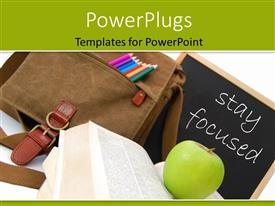 PowerPlugs: PowerPoint template with a school bag and a chalk board with an apple on an open book
