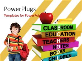 PowerPlugs: PowerPoint template with school boy standing beside different colored books with the word SCHOOL with angled strips