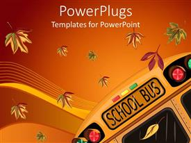 PowerPoint template displaying school bus and falling autumn leaves on gradient orange and red background