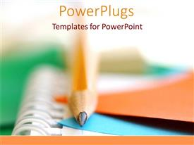 PowerPlugs: PowerPoint template with school and college writing pencils and multicolored paper as a metaphor on a white background