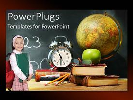 PowerPlugs: PowerPoint template with school depiction with composition of learning tool over chalkboard and little girl