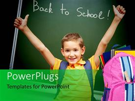 PowerPlugs: PowerPoint template with school depiction with young kid dressed for school and learning tools
