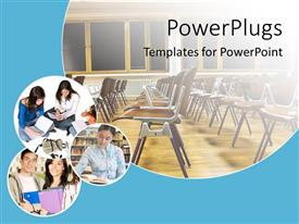 PowerPoint template displaying school and education theme with classroom with chairs and windows, and three depictions of learning and reading students