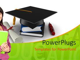 PowerPlugs: PowerPoint template with learning depiction with smiling student and graduation cap on book pile