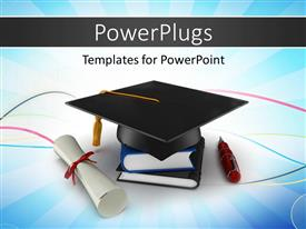 PowerPlugs: PowerPoint template with school graduation cap with degree placed over an elegant blue background