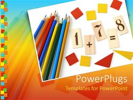PowerPoint template displaying school items on a blank paper colorful pencils, red and yellow geometry figures and math calculations, numbers on wooden pieces