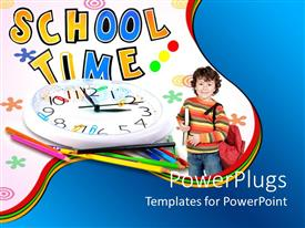 PowerPoint template displaying school kid ready for school on a white background with white clock