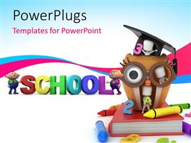 PowerPlugs: PowerPoint template with school learning concept with kids playing in an owl , having books and colors