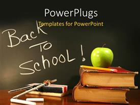 PowerPlugs: PowerPoint template with some school materials with a text that spell out the word 'Back To School '