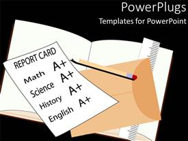 PowerPoint template displaying school report card with A+ grades on math, science, history and English, with envelope, pencil, ruler and opened notebook on black background