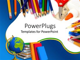 PowerPlugs: PowerPoint template with school supplies with pencils, globe, books, glue, and scissors on blue and white background