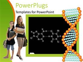 PowerPlugs: PowerPoint template with school theme with black chalkboard showing chemical formula, DNA strand, two girl pupils holding books, notebooks and schoolbags
