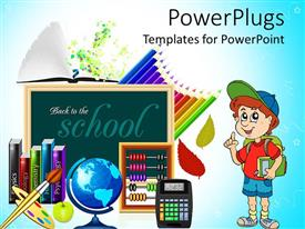 PowerPoint template displaying school theme with cartoon kid chalkboard books school globe calculator colored pencils painting brush and color palette