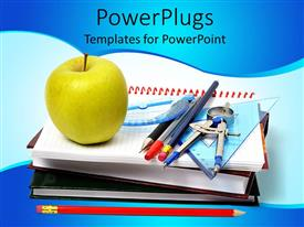PowerPoint template displaying school theme with notebooks, math tools, pencils, pens, green apple