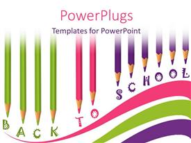 PowerPlugs: PowerPoint template with school time with colored pencils and text back to school